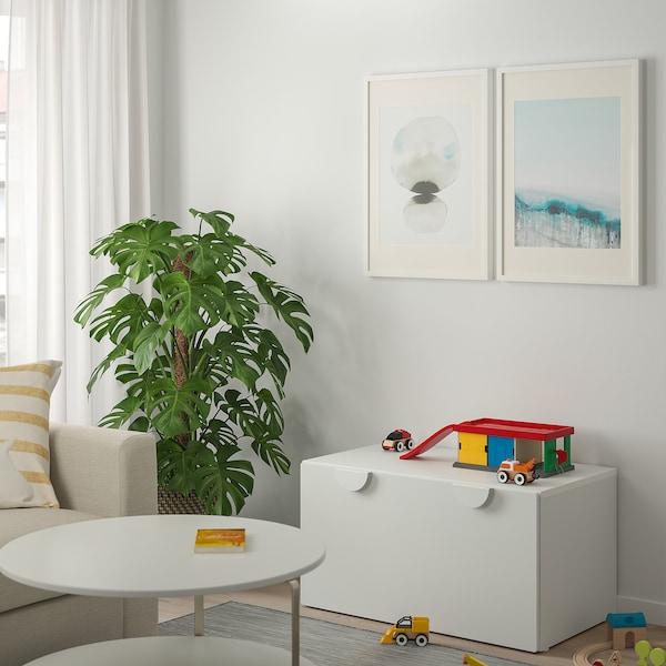 SMÅSTAD Pad+játéktároló, fehér/fehér, 90x50x48 cm