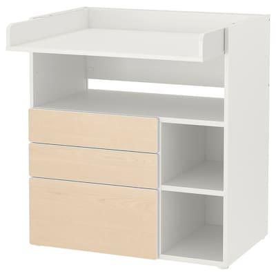 SMÅSTAD Pelenkázóasztal, fehér nyír/3 fiókkal, 90x79x100 cm