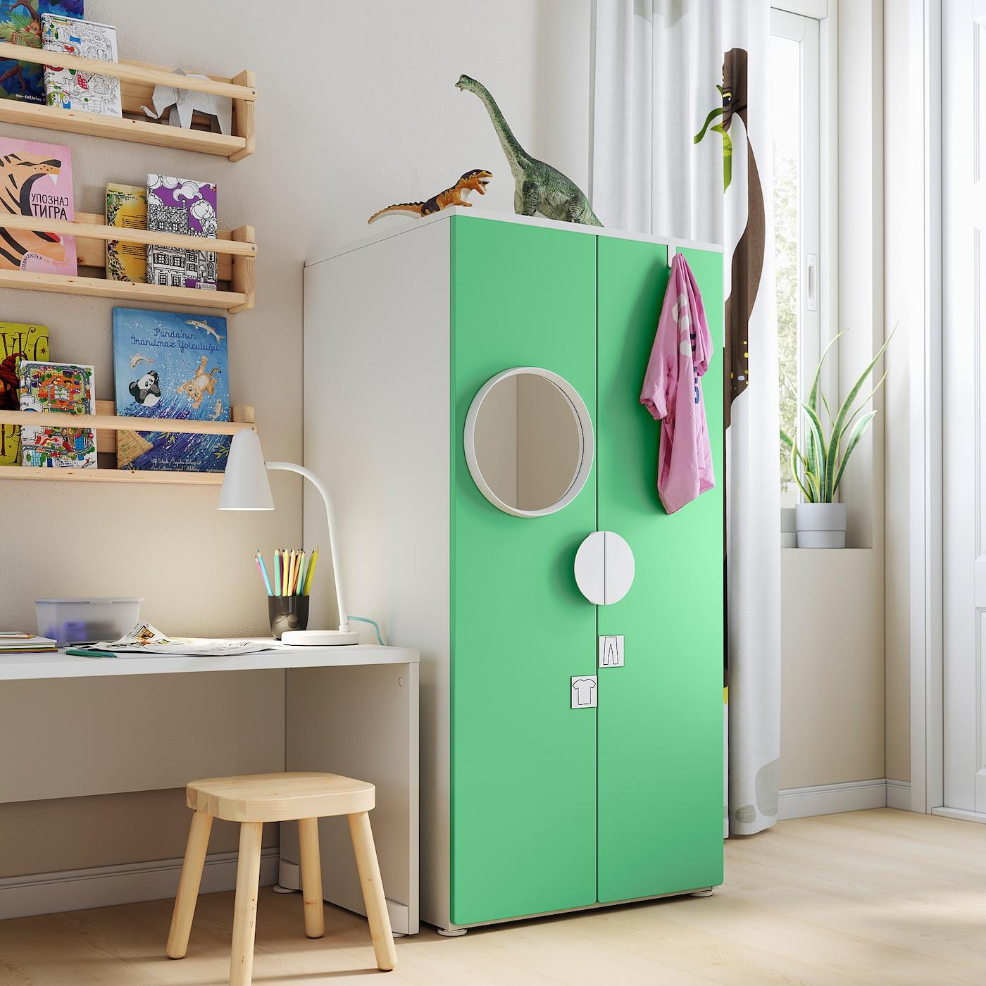 SMÅSTAD / PLATSA Gardrób, fehér/zöld, 60x57x123 cm