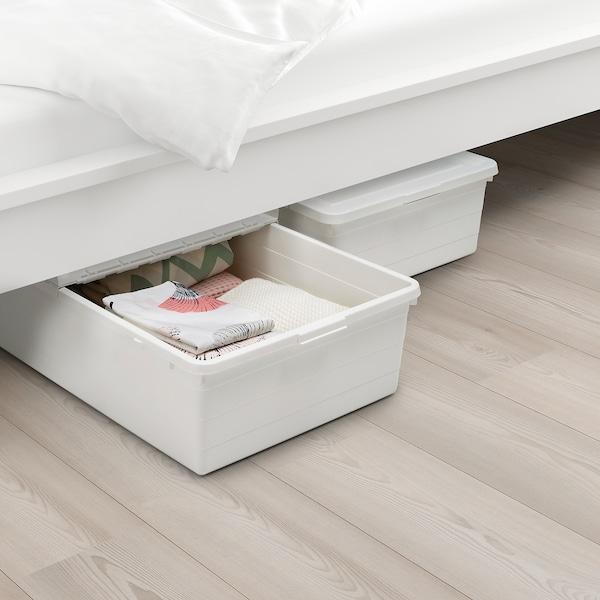 SOCKERBIT Tárolódoboz+tető, fehér, 50x77x19 cm
