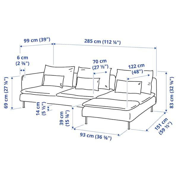 SÖDERHAMN 4 személyes kanapé, fekvőfotellel nyitott végű/Finnsta türkiz
