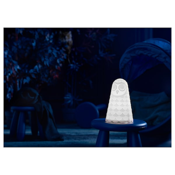 SOLBO LED-es asztali lámpa, fehér/bagoly, 23 cm