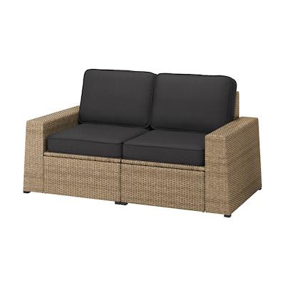 SOLLERÖN 2 üléses elemes kanapé, kültéri, barna/Järpön/Duvholmen antracit, 161x82x90 cm