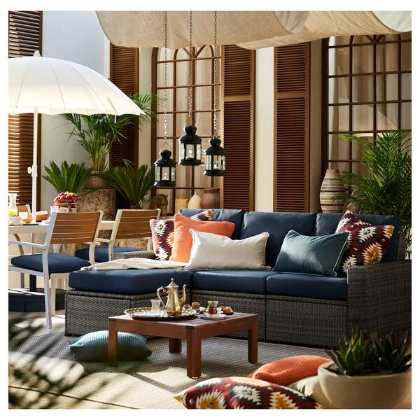 SOLLERÖN 3 üléses elemes kanapé, kültéri, lábtartóval sszürke/Frösön/Duvholmen kék, 223x144x88 cm