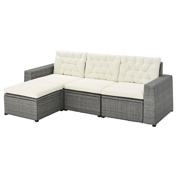 SOLLERÖN 3 üléses elemes kanapé, kültéri, lábtartóval sszürke/Kuddarna bézs