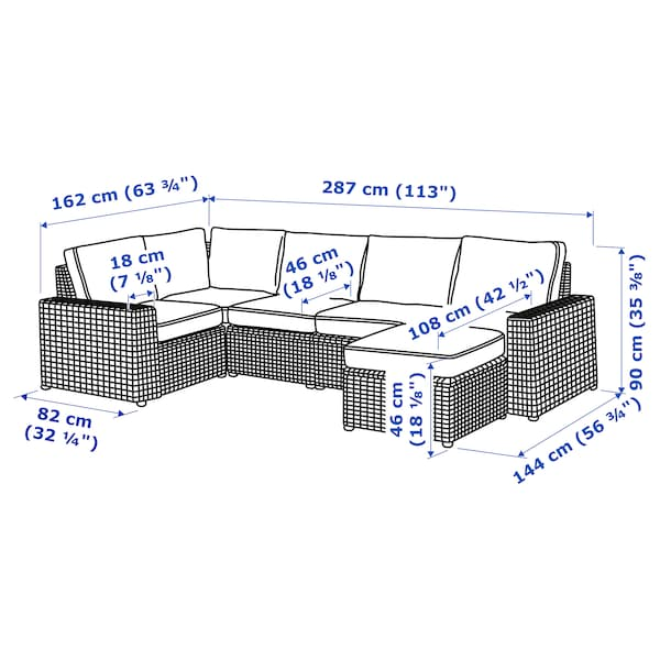 SOLLERÖN 4 üléses elemes sarokkanapé, kült, lábtartóval barna/Järpön/Duvholmen antracit