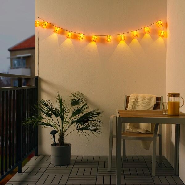 SOLVINDEN LED világító füzér 12 izzó kültéri napelemes/tulipán rózsaszín 3.0 m 2 lumen 19 cm 2.1 m 0.05 W 5.0 m