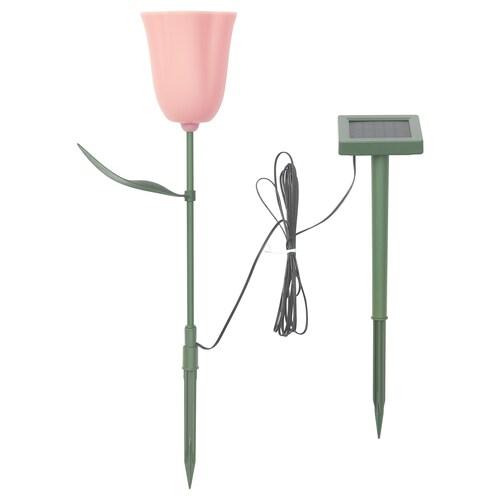 SOLVINDEN LED napelemes karó kültéri/tulipán rózsaszín 3 m 10 cm 49 cm 36 cm
