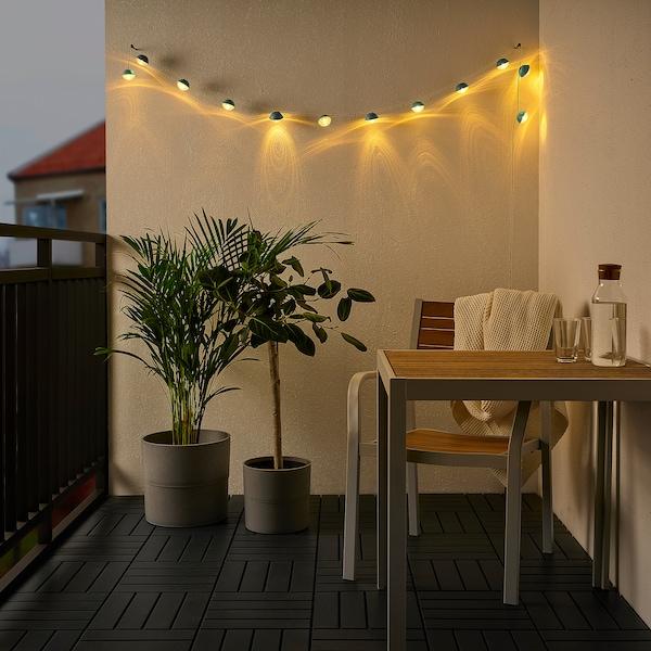 SOLVINDEN LED világító füzér 12 izzó, elemes kültéri/mini fényszóró kék