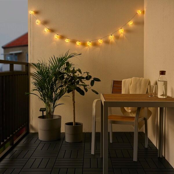 SOLVINDEN LED világító füzér 12 izzó, narancssárga kék/kültéri napelemes