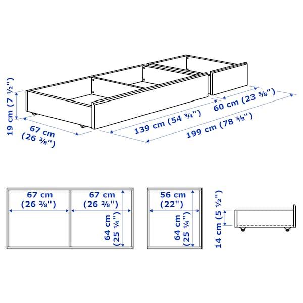 SONGESAND Ágy alatti tárolódoboz, 2 db, fehér, 200 cm