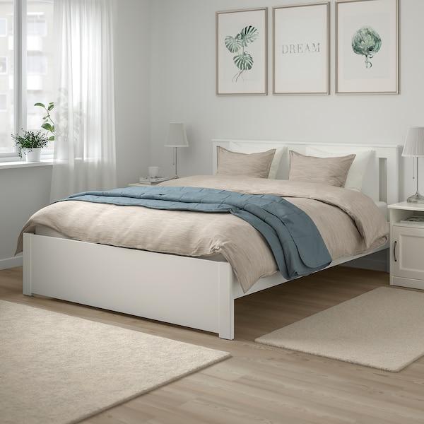 SONGESAND Ágykeret, fehér/Leirsund, 160x200 cm