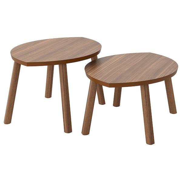 STOCKHOLM Egymásba rakh.asztal, 2 db, dió furnér