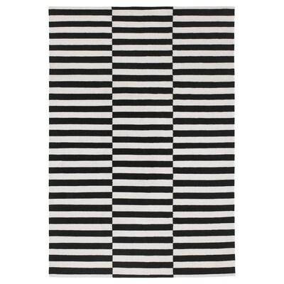 STOCKHOLM Szőnyeg, síkszövött, kézzel készült/csíkos fekete/törtfehér, 170x240 cm