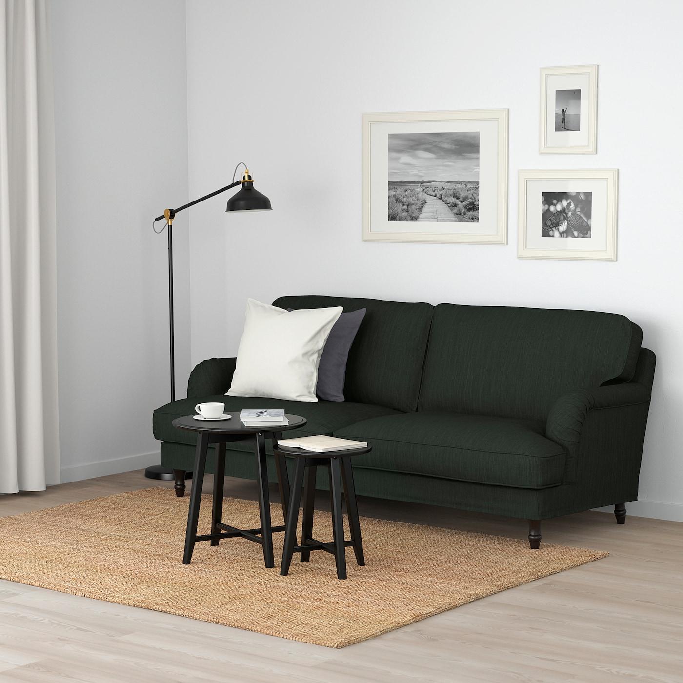 STOCKSUND 3 személyes kanapé Nolhaga sötétzöld, feketefa