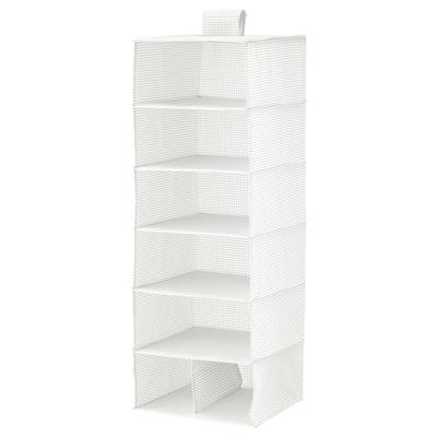 STUK Tároló 7 rekesszel, fehér/szürke, 30x30x90 cm