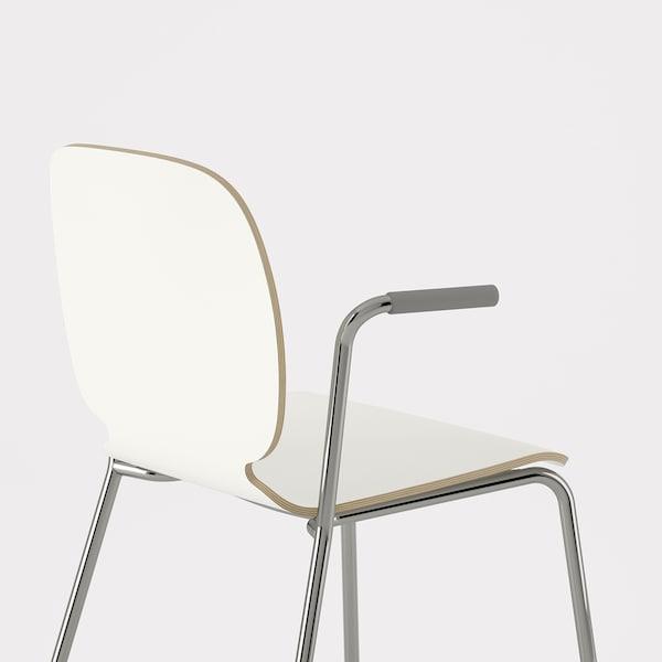 SVENBERTIL Karfás szék, fehér/Dietmar krómozott