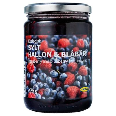 SYLT HALLON & BLÅBÄR Málna és kékáfonya dzsem, bio, 425 gr