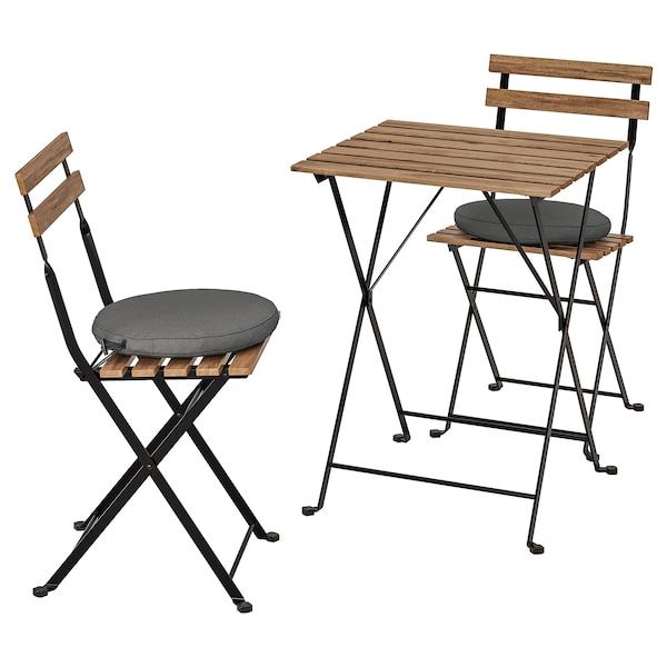TÄRNÖ Asztal+2 szék, kültéri, fekete/világosbarnára pácolt/Frösön/Duvholmen sszürke