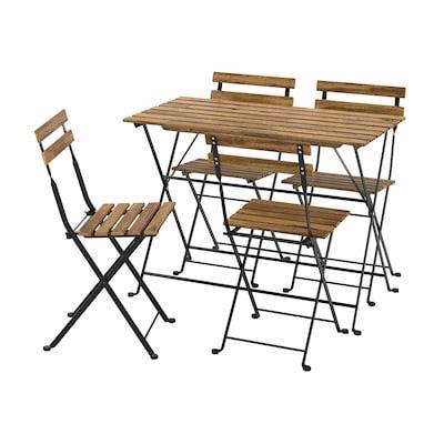TÄRNÖ Asztal+4 szék, kültéri, fekete/világos barnára pácolt