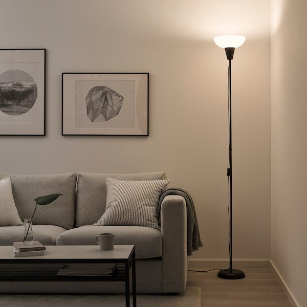 TÅGARP Álló mennyezet-megvilágító lámpa, fekete/fehér