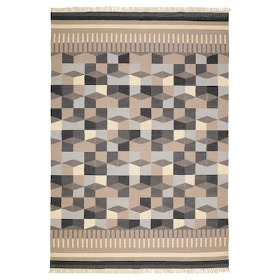 TÅRBÄK szőnyeg, síkszövött kézzel készült/szürke/bézs 240 cm 170 cm 4 mm 4.08 m² 1400 g/m²