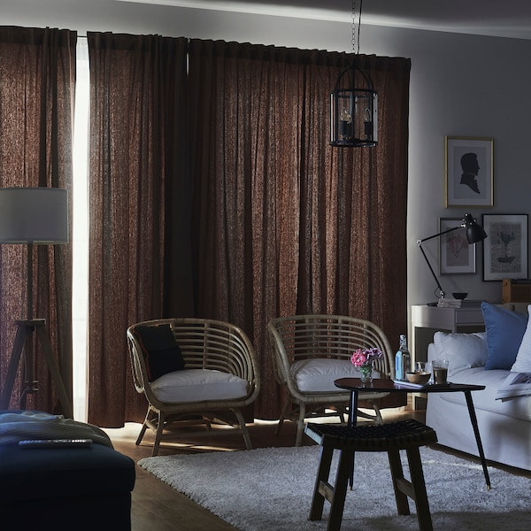 TIBAST Sötétítőfüggöny, 1 pár, sötétpiros, 145x300 cm