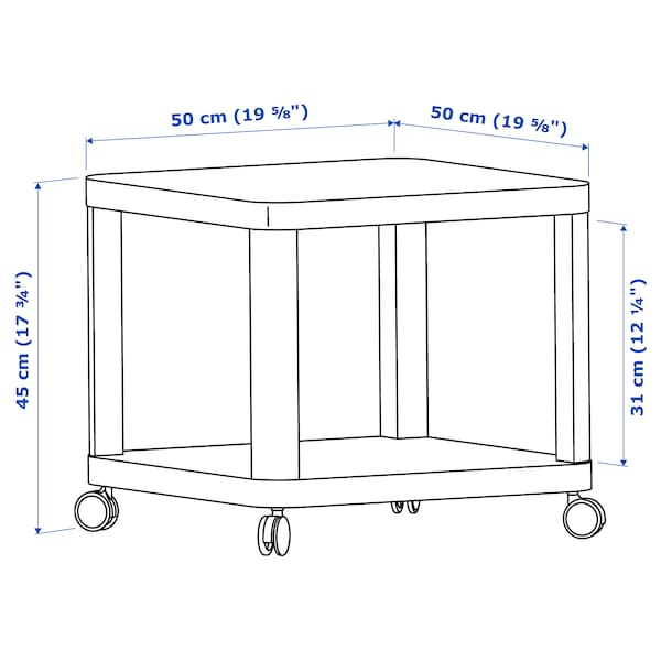 TINGBY Görgős dohányzóasztal, fehér, 50x50 cm