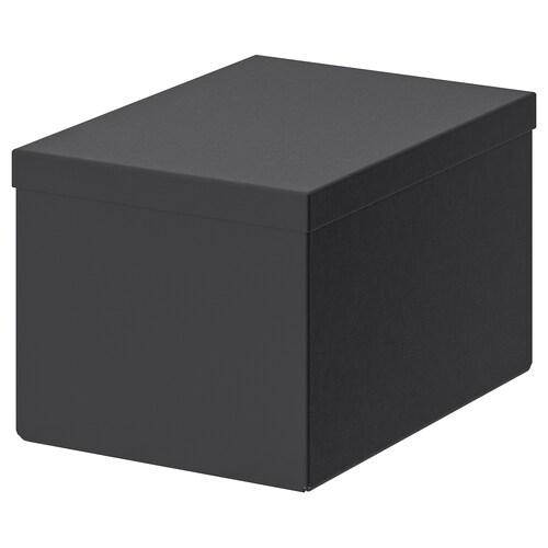 TJENA tárolódoboz+tető fekete 25 cm 18 cm 15 cm