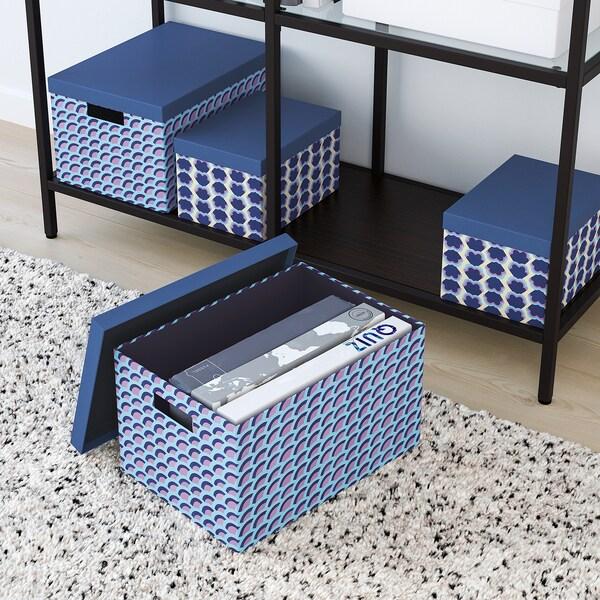TJENA Tárolódoboz+tető, kék/többszínű, 25x35x20 cm