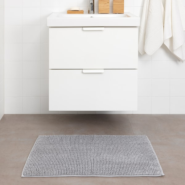 TOFTBO fürdőszobaszőnyeg szürke-fehér kevert 80 cm 50 cm 0.40 m² 1410 g/m²