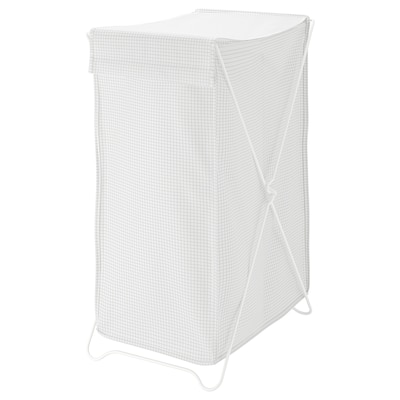 TORKIS Szennyestartó kosár, fehér/szürke, 90 l