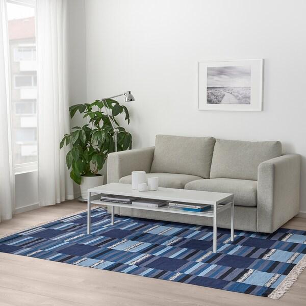 TRANGET Szőnyeg, síkszövött, kézzel készült kék árnyalatú színek, 170x240 cm