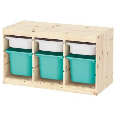 TROFAST tárolókomb+dobozok halványfehérre pácolt fenyő fehér/türkiz 94 cm 44 cm 52 cm