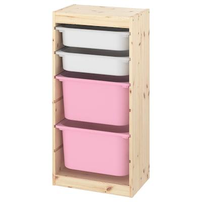 TROFAST tárolókomb+dobozok halványfehérre pácolt fenyő fehér/rózsaszín 44 cm 30 cm 91 cm