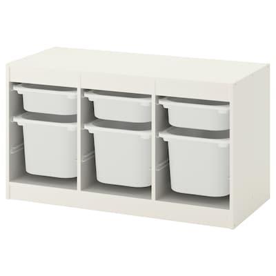 TROFAST Tárolókomb+dobozok, fehér/fehér, 99x44x56 cm