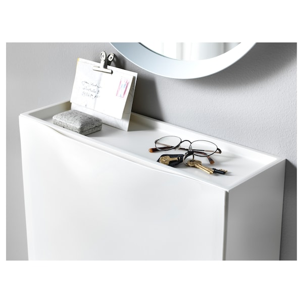 TRONES Cipősszekrény/tároló, fehér, 52x18x39 cm