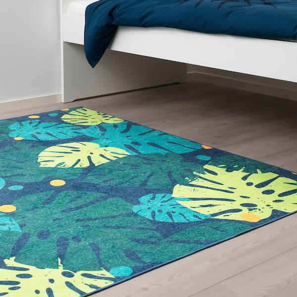 URSKOG Szőnyeg, síkszövött, levelek/zöld, 133x160 cm