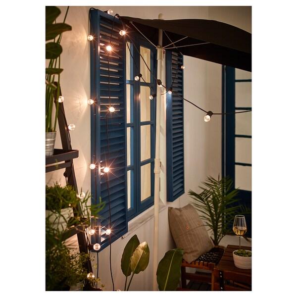 UTSUND LED világító füzér 12 izzó kültéri/elemes fekete 1.5 m 4 lumen 30 cm 0.1 W 4.9 m