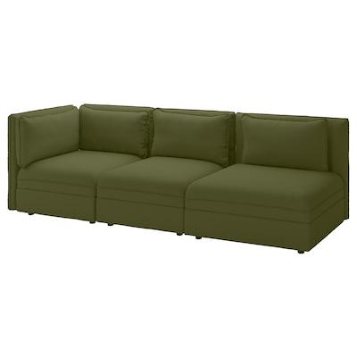 VALLENTUNA 2-személyes elemes kanapé nyitott véggel és tároló/Orrsta olivazöld 273 cm 93 cm 84 cm 45 cm