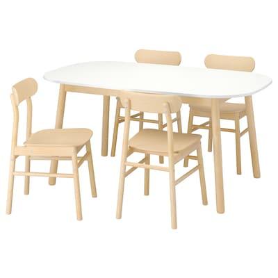 VEDBO / RÖNNINGE asztal és 4 szék fehér/nyír 160 cm 95 cm