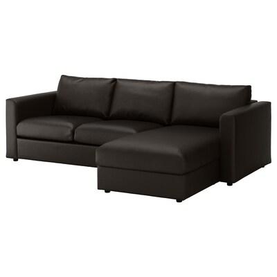 VIMLE 3 személyes kanapé fekvőfotellel/Farsta fekete 80 cm 164 cm 252 cm 98 cm 125 cm 4 cm 15 cm 65 cm 222 cm 55 cm 45 cm