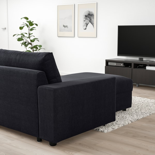 VIMLE 3 sz. sarokkanapé-ágy heverővel, széles karfákkal/Saxemara fekete-kék