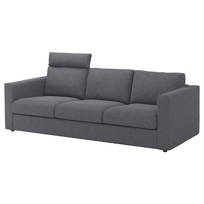 VIMLE 3 személyes kanapé, fejtámlával/Gunnared középszürke