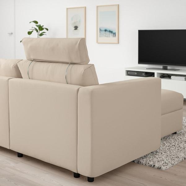 VIMLE 3 személyes kanapé+fekvőfotel, fejtámlával/Hallarp bézs