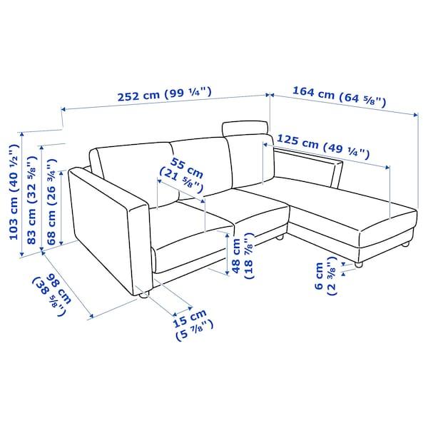 VIMLE 3 személyes kanapé+fekvőfotel, fejtámlával Saxemara/világoskék