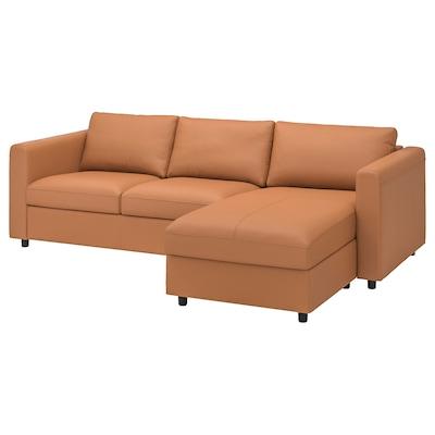 VIMLE 3 személyes kanapé, fekvőfotellel/Grann/Bomstad aranybarna