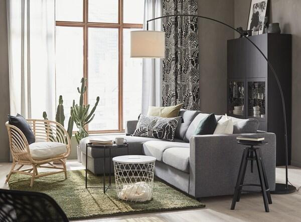VIMLE 3 személyes kanapé, fekvőfotellel/Gunnared középszürke