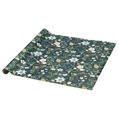 VINTER 2020 Csomagolópapír, karácsonyi rózsák zöld, 3x0.7 m