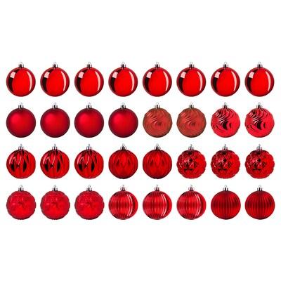 VINTER 2020 Dekoráció, gömb, piros, 8 cm